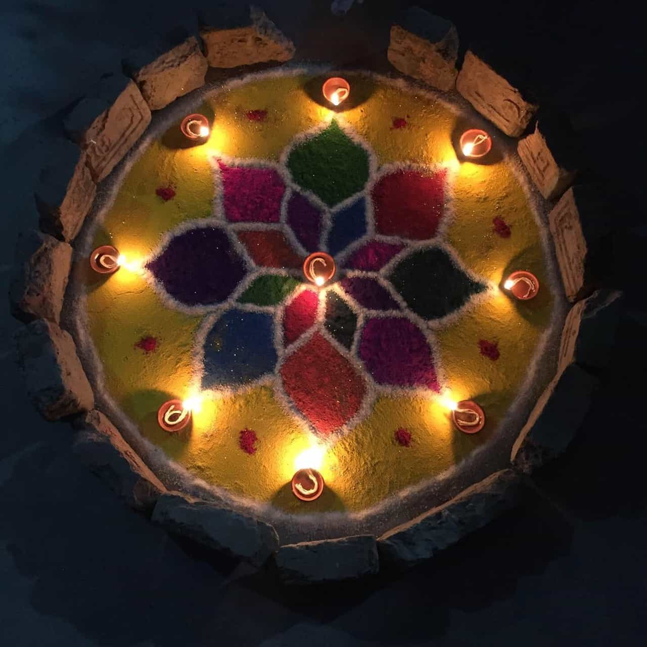 tihar festival nepal, kerzenlicht mandala