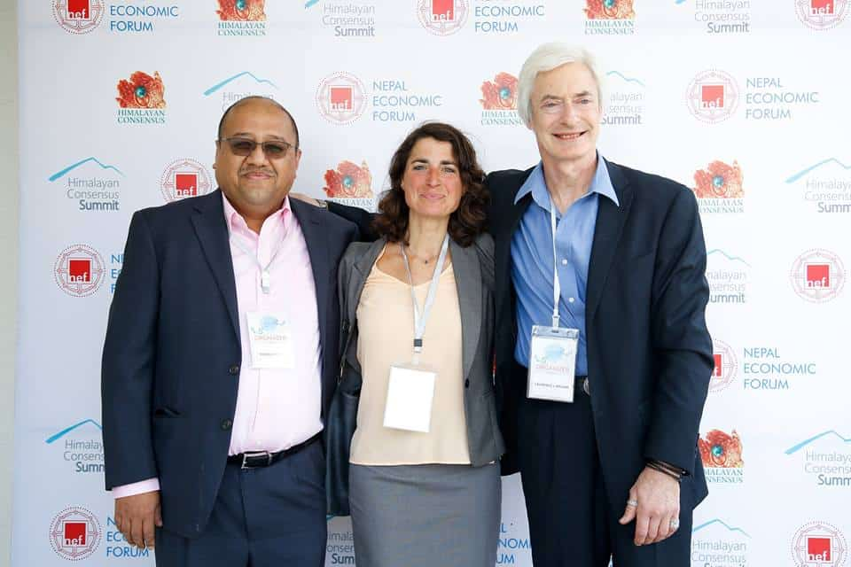 Monika Schaffner with Sujeev Shakya and Laurence Brahms at Himalayan Consensus Summit 2018